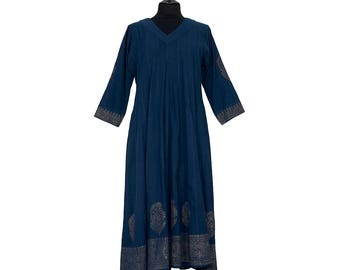 DRESS - All sizes - Navy blue with gold border - 100% cotton
