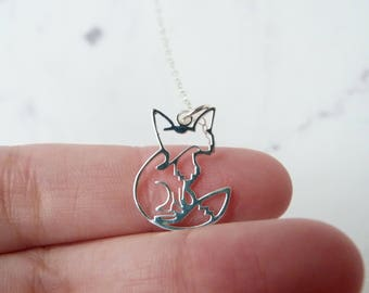 Fox necklace, origami sterling silver charm, Christmas gift, stocking stuffer women jewelry