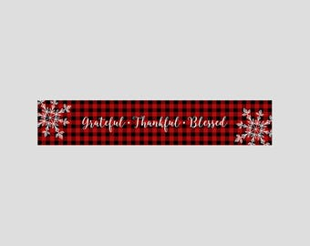 Grateful thankful blessed table runner Christmas buffalo plaid linen home decoration