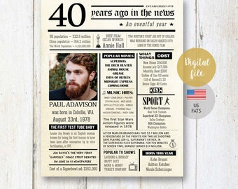 Personalized 40th birthday poster for him men husband son best brother friend men uncle boyfriend - US Fun facts 1978 wall art DIGITAL FILE!