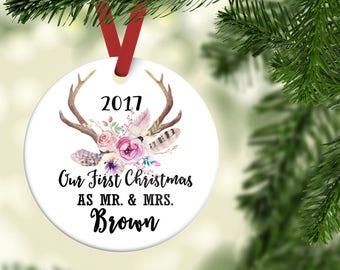 Newlywed ornament  Etsy
