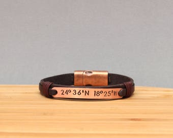 Custom Coordinate Bracelet, Personalized Leather Bracelet, Latitude Longitude Bracelet, Boyfriend Birthday Gift