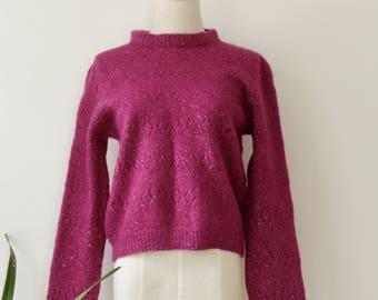 Magenta wool sweater. Hot Pink knit jumper. Pink pullover. Fluffy pink sweater. 80s pullover. 80s sweater. 80s vintage sweater