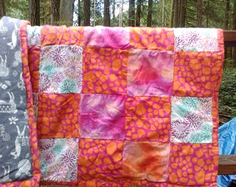Pretty Pink Patchwork Quilt With Llamas
