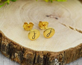 Personalized Stud Earrings - Hand Stamped Gift - Custom Initial Jewelry - Sterling Silver - Gold - Rose Gold