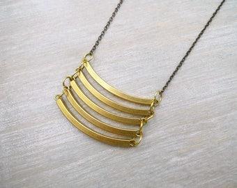 long necklace, Raw brass necklace, Geometric necklace