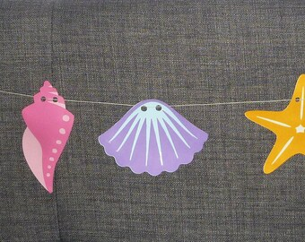 Shell garland/banner perfect for mermaid or beach theme party