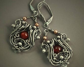 Carnelian Sterling Silver Statement Earrings, Orange Earrings, Art Nouveau Earrings, Dangle Earrings, Leverback Earrings, Gypsy Earrings