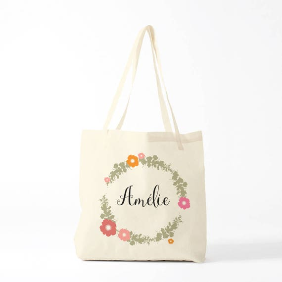 Canvas bag, Custom tote, Amelie, The name you want, groceries bag, gift coworker, novelty gift, gift sister, gift woman.