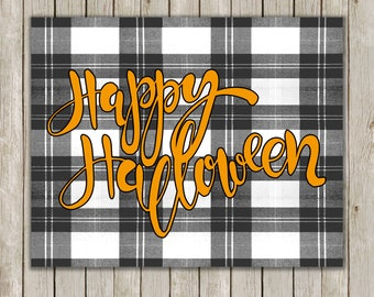 8x10 Happy Halloween Print, Typography Art, Halloween Print, Plaid Wall Art, Digital Art, Halloween Decor, Fall Decor, Instant Download
