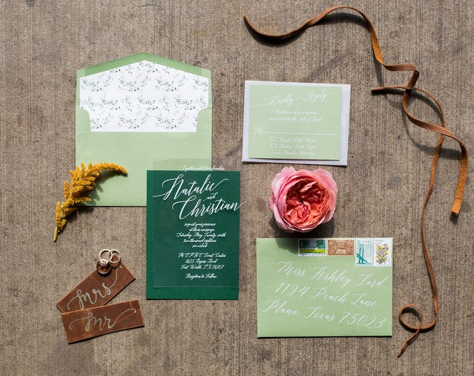 White Ink Calligraphy Wedding Invitation on Crystal Clear Film Vellum in Green — Includes Envelope Liner, RSVP and Address Printing