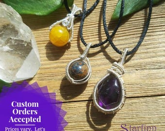 Made to Order Custom Gemstone Necklaces, Wire Wrap Jewelry, Stone Necklace, Sterling Silver, Gold, Gold Filled, Crystal Jewelry, Custom