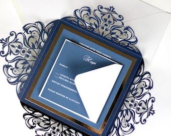 Navy Blue Wedding Invitations, Navy Invitations, Laser Cut Wedding Card, Laser Cut Wedding Invitations, Elegant Wedding Invitations