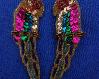 Sequin Parrot Clip On Earrings,Beaded Clip On Earrings,Handmade Sequin and Bead Earrings,Bird Earrings,Parrot