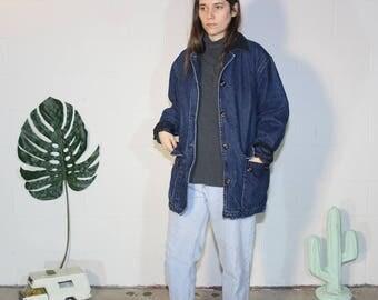 heavy long lean soft worn flannel lined denim jean jacket