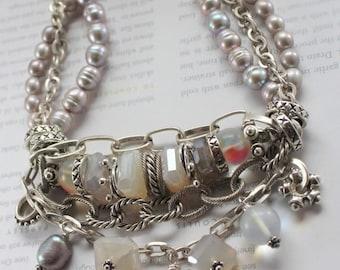 bracelet, rainbow moonstone bracelet, chalcedony bracelet, pearl bracelet, bohemian bracelet, artisan bracelet, christmas for her