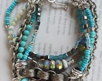 bracelet, opal bracelet, turquoise bracelet, dendrite opal bracelet, southwestern bracelet, bohemian bracelet, robin's egg turquoise, blue