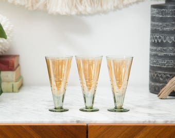 Iridescent Bar Glasses - Antique Ombre Orange and Green Cocktail Glasses with Etched Pattern - Hollywood Regency Glasses