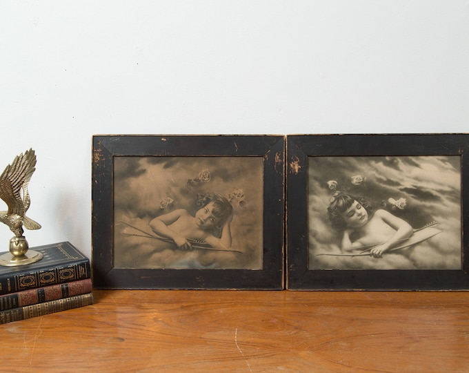 "Antique 1908 Cupid Lithographs - Pair of Framed Prints of Girls with Bows and Arrows - Artwork Titled ""Night"" and ""Morning"""