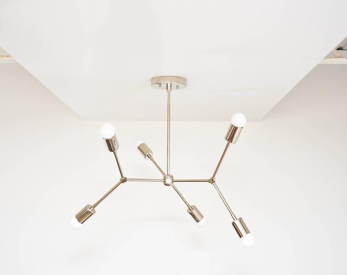 Modern Geometric Tree Branch Nickel Chandelier Pinwheel Bulb Sputnik Mid Century Semi Flush Industrial 6 Light UL Listed