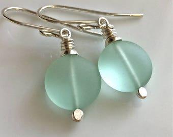 Sea Foam Green Sea Glass Earrings   Cultured Sea Glass   Beach Glass   Sterling Silver Earrings