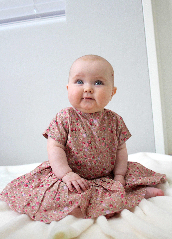 Pink Beige Vintage Floral Baby Girl Dress Toddler dress boho