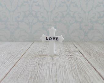 White Cross -  LOVE - Encouragement - Religious - Faith - Jesus - Hope - Salvation - Preacher - Motivation - Pastor - Lapel Pin
