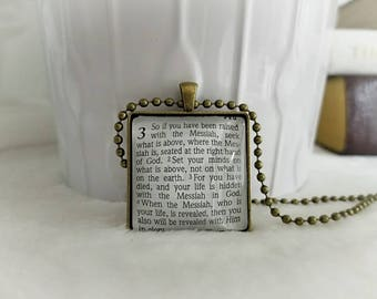 Seek what is above bezel necklace/Pendant necklace/Gift for Her/Gift for mom/Gift for Wife/Christian Jewelry/Vintage Jewelry/Custom