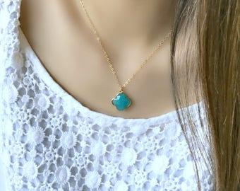 aqua necklace aqua chalcedony clover necklace clover pendant clover jewelry aqua jewelry 14k gold filled boho chic beach jewelry blue gift