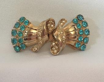 Coro Duette Art Deco Blue Rhinestones Convertible Brooch Dress Clips