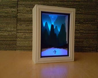 Paper Cut Light Box Art / Handmade Paper Silhouette Shadowbox Art / Multi Colored LED Remote / Night Light For Home / Distant But Not Alone