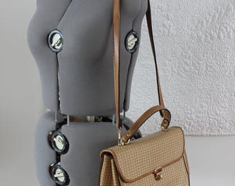 Faux Leather Beige and Brown Messenger Bag