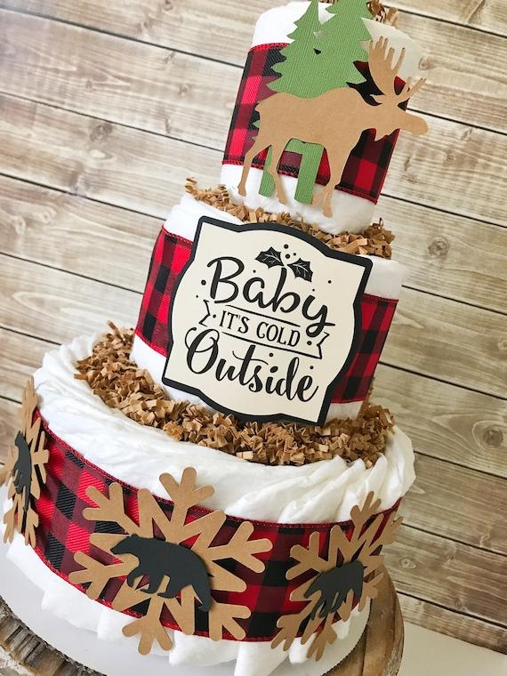 Buffalo Plaid Baby Shower Diaper Cake Winter Buffalo Plaid