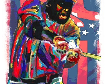 """David Ortiz, Big Papi, Boston Red Sox, First Base, All Star, MLB, POSTER from Original Dwg 18"""" x 24"""" Signed/Dated by Artist w/COA 2"""