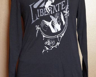 """Large """"Liberate"""" Long Sleeved Tee, White Ink on Black"""