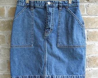 Size Small Vintage Tommy HilfigerDenim Skirt / Tommy Denim Skirt / Tommy Jeans Skirt / 28 inch Waist
