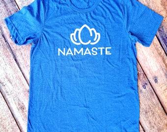 Namaste Yoga Shirt - Yoga Tee - Heather Blue Namaste T-Shirt