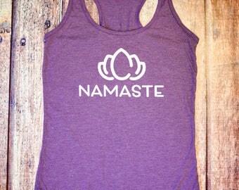 Namaste Tank Top - Yoga - Purple Racerback Tank