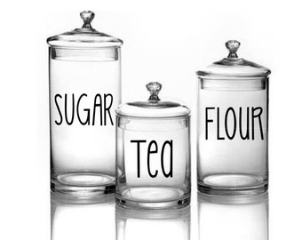 Kitchen Decal- Kitchen Canister Decal- Canister Decal- Sugar Decal- Flour Decal- Tea Decal-Rae Dunn