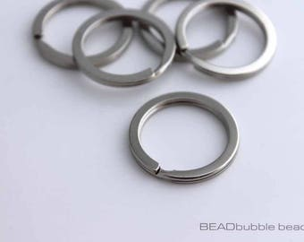 25mm Flat Key Ring Blank, Large Split Rings, Pack of 5, Silver Tone, Antique Silver, Grey, Findings for Jewelry Making (FIN211)