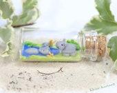 Miniature bottle hippo animal polymer clay decoration homedecoration