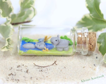 Miniature bottle hippo animal polymer clay decoration homedecoration