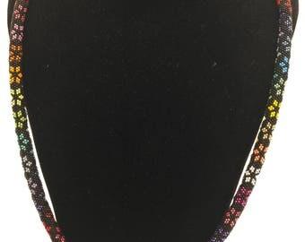 Black Peyote Stitch with Rainbow Stars