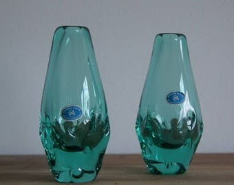 Vintage, set of two vases by Miloslav Klinger, ZBS Czechoslovakia 1960.