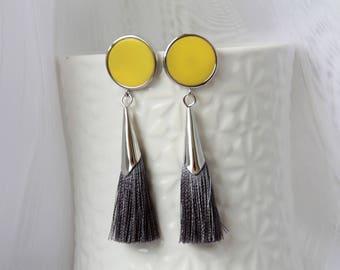 Yellow silver Stud Earrings with a gray tassel tassel stud earrings, yellow earrings, grey silver tassel earrings