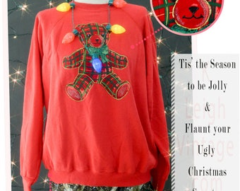 Ugly Christmas Sweater, Ugly Christmas Jumper 80s Puffy Sweater, Red Pull Over Sweat Shirt, Size Large Sweatshirt, Red Teddy Bear Sweater