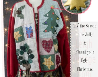 Ugly Christmas Sweater, Vintage Ugly Christmas Jumper, Oversized Cardigan, Country Patchwork Holiday Cardigan, Women's Size Extra Large