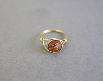 Goldring mit rotem stein  Roten Stein-Ring rote Korallen Ring Gold Rot Edelstein-Ring