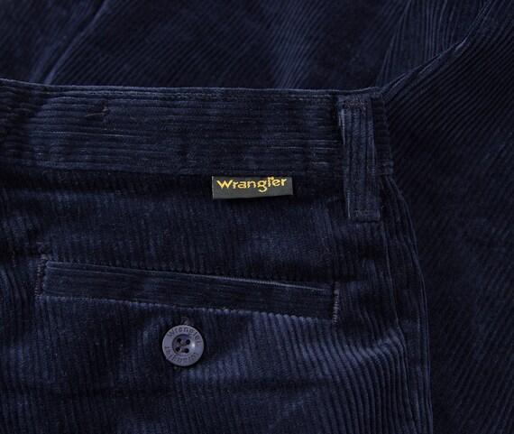 70s Wrangler corduroy straight leg navy blue chino pants / w29 l36