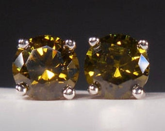 Olive Green Cubic Zirconia Stud Earrings Olive Green Studs Sterling Silver Posts Olive Green CZ Studs Olive Green Cubic Zirconia Earrings